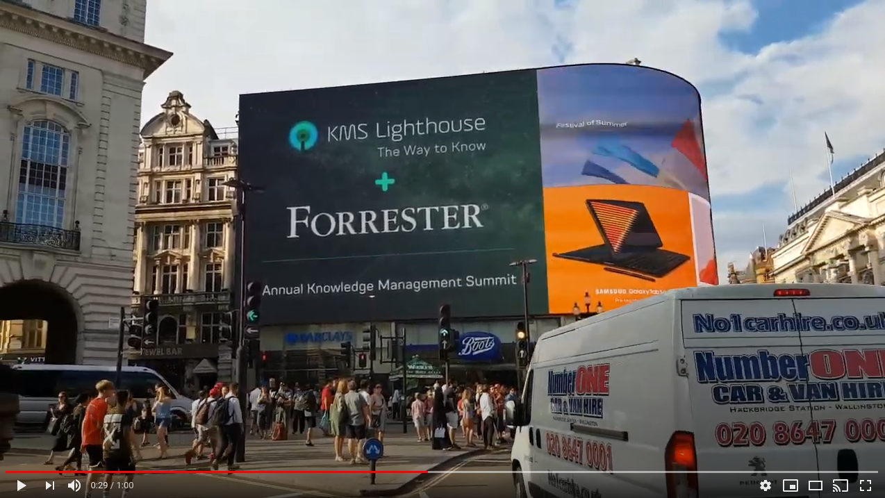 KMS Lighthouse featured in Picadilly Circus, London